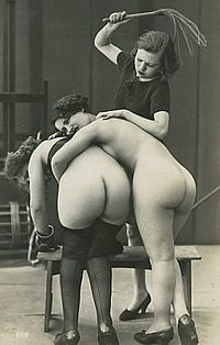 A whipping scene where both dominant and submissives are female, Paris, 1930