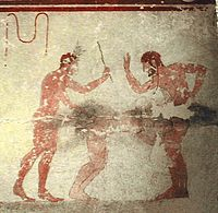 A fresco in the Etruscan Tomb of the Whipping, 5th century BC