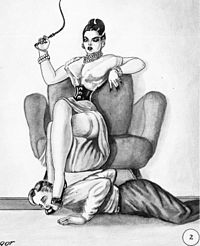Foot worship of one of the feet of a dominatrix by a submissive man. Her other foot rests over the man's head, using it as a footstool (human furniture). This sketch is from a 1950 work named Bizarre Honeymoon.