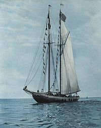 Photo of the Bluenose. Snow painted the schooner on cardboard winning 1st prize at the Lunenburg Fisheries Exhibition.