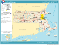 Prominent roads and cities in Massachusetts