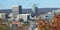 Worcester, second-largest city in the state, with Worcester Regional Airport tower in the background