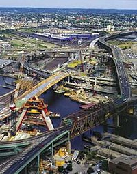 """Part of the """"Big Dig"""" construction project; this portion is over the Charles River in Boston"""