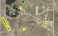A USGS satellite image of the Malheur National Wildlife Refuge headquarters shows a fire lookout used as a watch tower (1), the main offices used as a headquarters (2), and buildings used as a canteen and barracks (3).