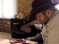 Ammon Bundy speaks to a FBI negotiator via speaker phone at the Malheur National Wildlife Refuge on January 21