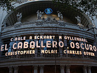 A sign of the film's pre-release at Coliseum cinema in Barcelona, Spain