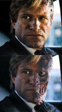 Aaron Eckhart with make-up and motion capture markers on set. Below is the finished effect.
