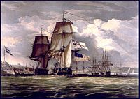 leading the captured into Halifax during the War of 1812