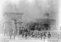 Inauguration of the Sebastopol Monument in 1860. The monument was built to honour Nova Scotians who fought in the Crimean War.