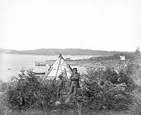 Mi'kmaq family in Tuft's Cove, 1871. The Mi'kmaq inhabited Nova Scotia when the first Europeans arrived.