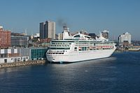 A cruise ship docked at the Port of Halifax. The port sees more than 200,000 cruise passengers each year.
