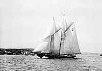 The Bluenose in 1921. The racing ship became a provincial icon for Nova Scotia in the 1920s and 1930s.