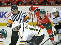 An ice hockey game between the Cape Breton Screaming Eagles, and the Halifax Mooseheads, two Major Junior hockey teams in Nova Scotia