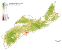 Population density map of Nova Scotia (c. 2016) with county and regional munipality borders shown.