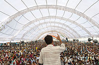 Social movements have long been a part of democracy in India. The picture shows a section of 25,000 landless people in the state of Madhya Pradesh listening to Rajagopal P. V. before their 350 km march, Janadesh 2007, from Gwalior to New Delhi to publicize their demand for further land reform in India.