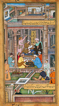 Writing the will and testament of the Mughal king in Persian, 1590–1595