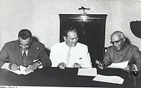 During the 1950s and 60s, India played a pivotal role in the Non-aligned movement. Shown here are from left to right: Gamal Abdel Nasser of United Arab Republic (now Egypt), Josip Broz Tito of Yugoslavia and Jawaharlal Nehru of India, at the Conference for Non-Aligned Nations, in Belgrade, September 1961.