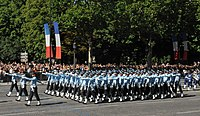 The Indian Air Force contingent marching at the 221st Bastille Day military parade in Paris, on July 14, 2009. The parade at which India was the foreign guest was led by the India's oldest regiment, the Maratha Light Infantry, founded in 1768. France, with which India signed a strategic partnership in 1998, is now India's third-largest supplier of military equipment.