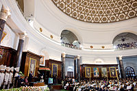 US president Barack Obama at the Parliament of India in New Delhi addressing members of parliament of both houses, the lower, Lok Sabha, and the upper, Rajya Sabha, in a joint session, 8 November 2010.