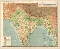 A 1909 map of the orographical features of India, including the plains of the Ganges and the Indus, the Western- and Eastern Ghats, the Thar desert, the Aravalli hills, and the Satpura and Vindhya ranges