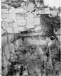 Early-1900s photograph of the Republic Marble Quarry near Knoxville