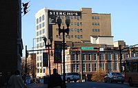 """The Sterchi Lofts building, formerly Sterchi Brothers Furniture store, the most prominent building on Knoxville's """"100 Block"""""""