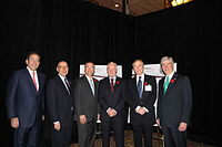 Johnston (third from right) with (from left to right) United States Deputy Secretary of State Thomas R. Nides, United States Ambassador to Canada David Jacobson, Minister of State for Science and Technology Gary Goodyear, Canada 2020 Chair Don Newman, and Governor of Michigan Rick Snyder at the US-Canada Partnership: Enhancing the Innovation Ecosystem conference at the Château Laurier in Ottawa, November 2, 2011