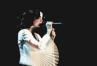 Björk performing during the Homogenic Tour in 1997
