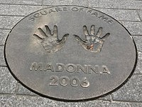 Madonna was the first person to be inducted into the Wembley Square of Fame in London, England.