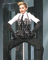 Madonna performing during The MDNA Tour, 2012. The tour became the tenth highest-grossing tour of all time after its completion.