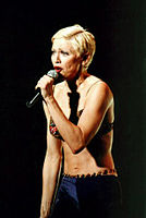 Madonna performing during The Girlie Show World Tour, 1993