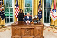 Kardashian and President Donald Trump during a May 2018 meeting in which they discussed prison reform