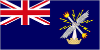 alt=Union Jack and stylised, winged hand on a blue background Ensign of the Corps of Royal Engineers