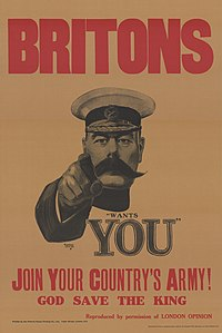 One of the most recognisable recruiting posters of the British Army; from World War I, with Lord Kitchener