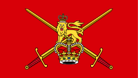 """alt=The British Lion, the crown and crossed swords on a red background Non-ceremonial army flag; """"Army"""", in gold letters, sometimes appears below the badge."""