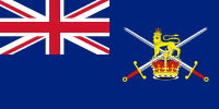 alt=Same as previous flag, with the British lion and the crown Ensign flown by the Royal Logistic Corps from vessels commanded by commissioned officers