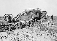 British First World War Mark I tank; the guidance wheels behind the main body were later scrapped as unnecessary. Armoured vehicles of the era required considerable infantry and artillery support. (Photo by Ernest Brooks)