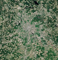 Satellite view of Moscow and its nearby suburbs