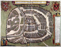 """""""Sigismundian"""" Plan of Moscow (1610), named after Sigismund III of Poland, is the last city plan compiled before the destruction of the city in 1612 by retreating Polish troops and subsequent changes to the street network. Orientation: north is at the right, west at the top"""