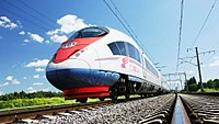 The high-speed Sapsan train links Moscow with Saint Petersburg.