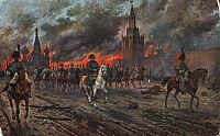 Napoleon retreating from the city during the Fire of Moscow, after the failed French Invasion of Russia