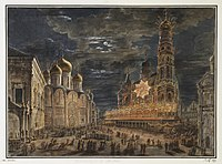 Cathedral Square during the coronation of Alexander I, 1802, by Fyodor Alekseyev