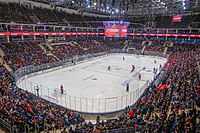 CSKA Arena during a game of KHL, considered to be the second-best ice hockey league in the world