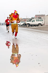 U.S. Army serviceman in a turkey costume leads the Kabul Satellite Turkey Chase 10K Run on Thanksgiving Day, 2011