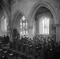 Thanksgiving Day service for members of the United States Army Air Corps, held in a church in Cransley, Northamptonshire, England, November 23, 1944