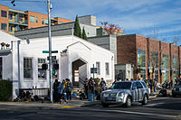 Hungry diners line up outside a performing arts center for a free Thanksgiving meal in Eugene, Oregon, in 2013