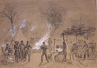 Sketch by Alfred Waud of Thanksgiving in camp (of General Louis Blenker) during the U.S. Civil War in 1861