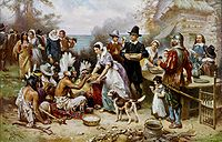 The First Thanksgiving 1621, oil on canvas by Jean Leon Gerome Ferris (1899). The painting shows common misconceptions about the event which persist to modern times: Pilgrims did not wear such outfits, nor did they eat at a dinner table, and the Wampanoag are dressed in the style of Native Americans from the Great Plains.