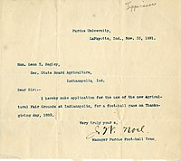 An 1891 letter indicating that the Purdue Boilermakers football team intend to play a game in Indianapolis the following year