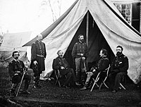 Commanders of the Army of the Potomac, Gouverneur K. Warren, William H. French, George G. Meade, Henry J. Hunt, Andrew A. Humphreys and George Sykes in September 1863